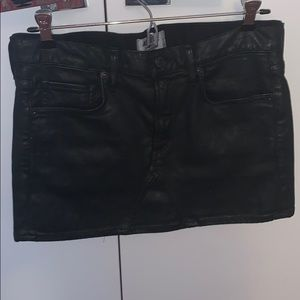 Agolde black faux leather mini skirt